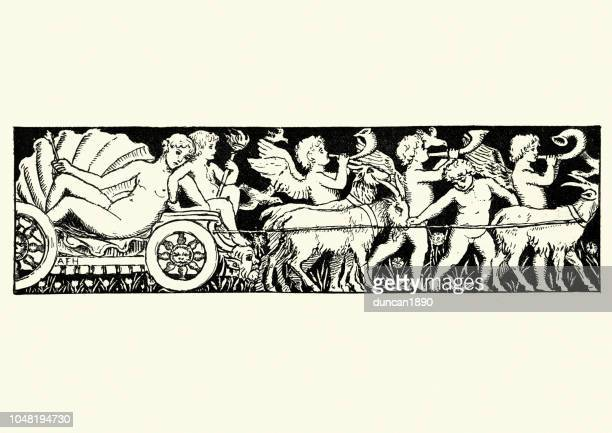 goddess venus on a chariot pulled by angels and goats - aphrodite stock illustrations, clip art, cartoons, & icons