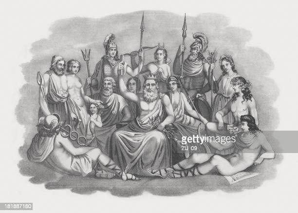 gods of greek mythology, lithograph, published in 1852 - aphrodite stock illustrations, clip art, cartoons, & icons