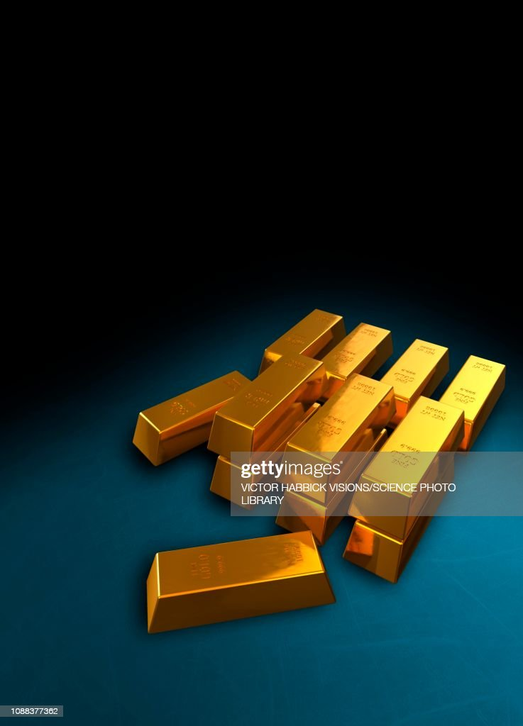 Gold Bullion Bars Ilration Stock