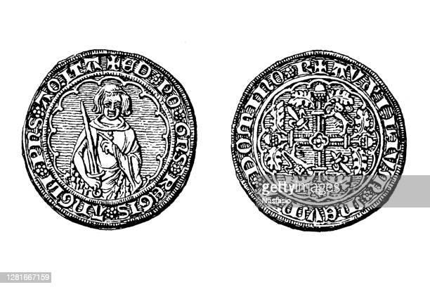 stockillustraties, clipart, cartoons en iconen met gouden munt van edward, de zwarte prins, als hertog van aquitaine - duke