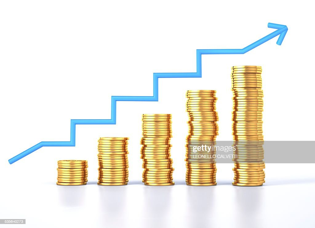 Gold coins and a growth chart, artwork : Stock Illustration
