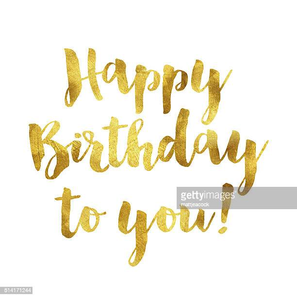 gold foil birthday message - happy birthday banner stock illustrations