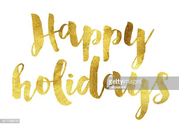 gold foil happy holidays - happy holidays stock illustrations, clip art, cartoons, & icons