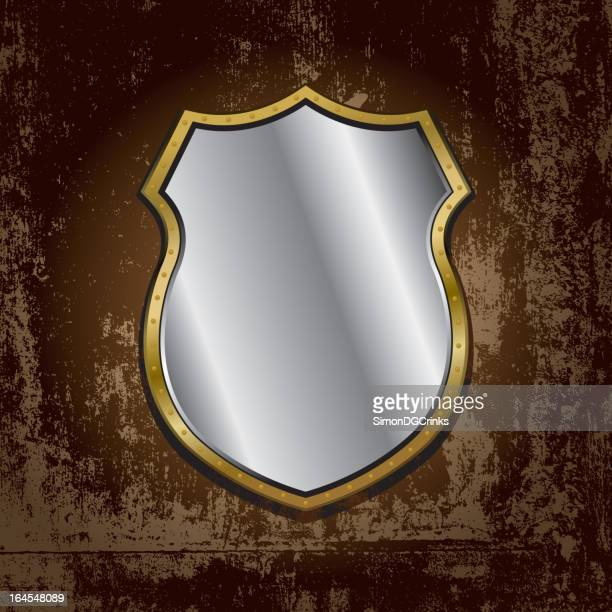 gold frame mirror on grunge wall - concrete wall stock illustrations, clip art, cartoons, & icons