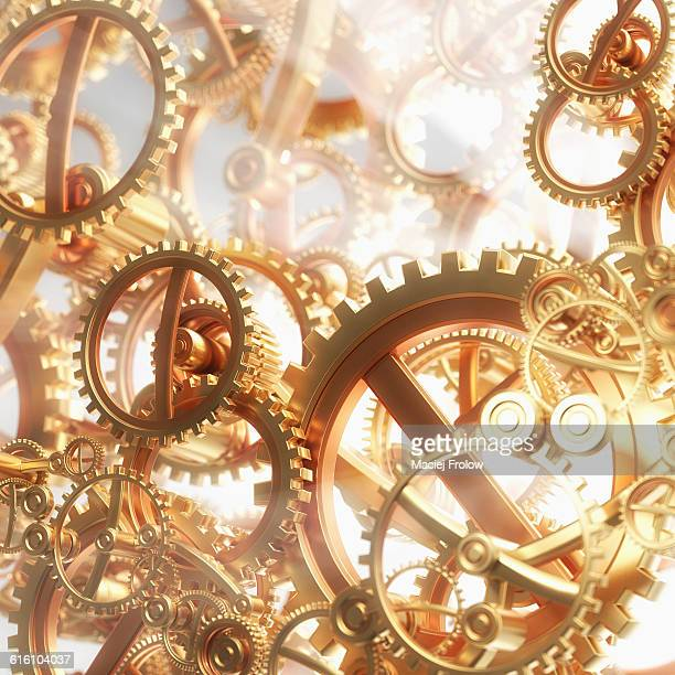 gold gears and light - time stock illustrations