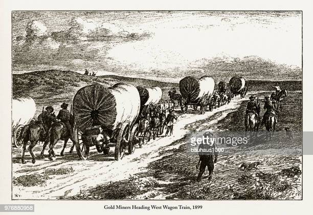 gold miners heading west wagon train victorian engraving, 1899 - gold rush stock illustrations