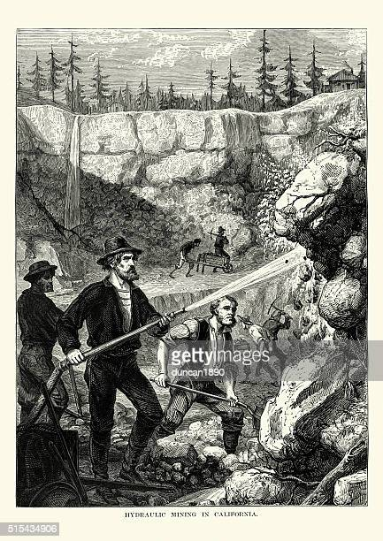 gold miners in california, 19th century - gold rush stock illustrations