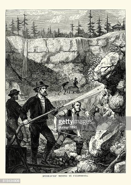 gold miners in california, 19th century - california gold rush stock illustrations