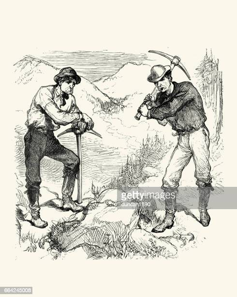 gold miners prospecting, california, 19th century - california gold rush stock illustrations
