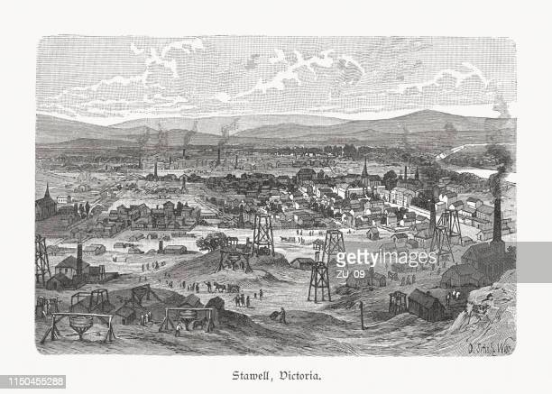 gold mines of stawell, victoria, australia, wood engraving, published 1897 - gold rush stock illustrations