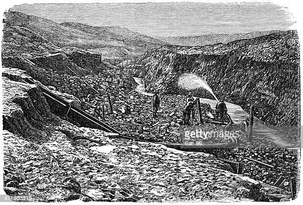 gold mining - gold rush stock illustrations