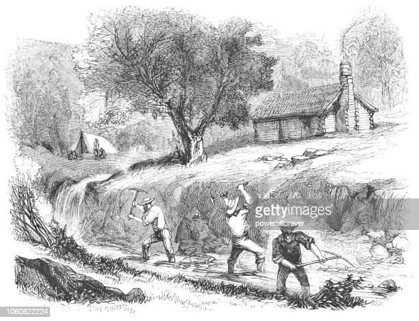gold mining in grass valley, california, usa (19th century) - gold rush stock illustrations