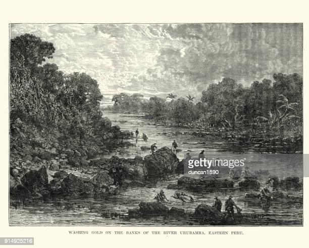 gold panning on the river urubamba, peru, 19th century - gold rush stock illustrations