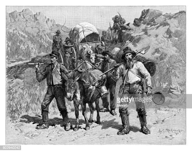 gold prospectors - horse cart stock illustrations, clip art, cartoons, & icons