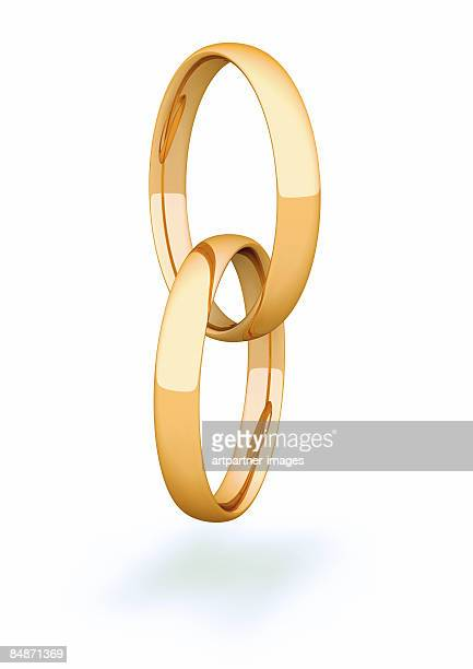2 gold rings / gold rings on white background