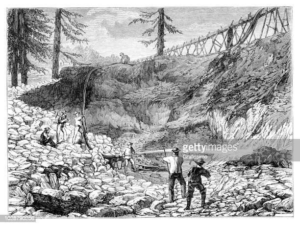 gold rush men panning for gold in gold mine california us illustration - gold rush stock illustrations