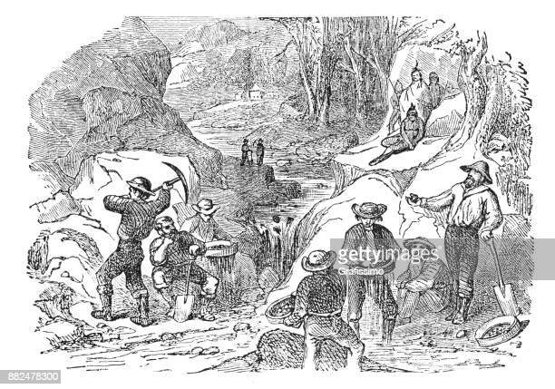 gold rush men washing gold in river in california - gold rush stock illustrations