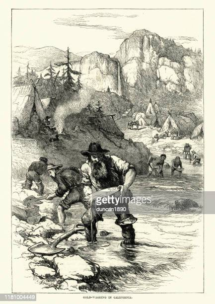 gold rush, miners panning for gold, california, 19th century - graphic print stock illustrations