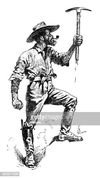 gold rush prospector holding a pickaxe - gold rush stock illustrations