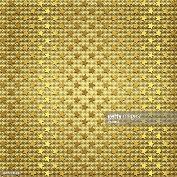 Gold shiny star pattern on golden background