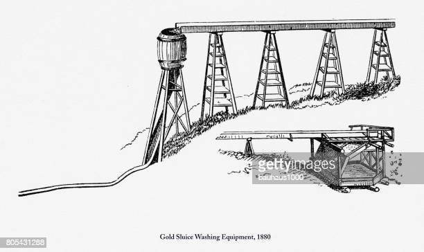 gold sluice washing equipment, early american engraving, 1880 - sluice stock illustrations