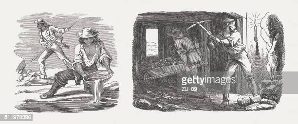 gold washers and miners, wood engraving, published in 1880 - gold rush stock illustrations