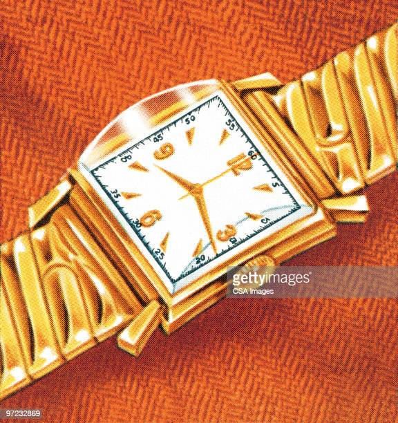 gold watch - time stock illustrations