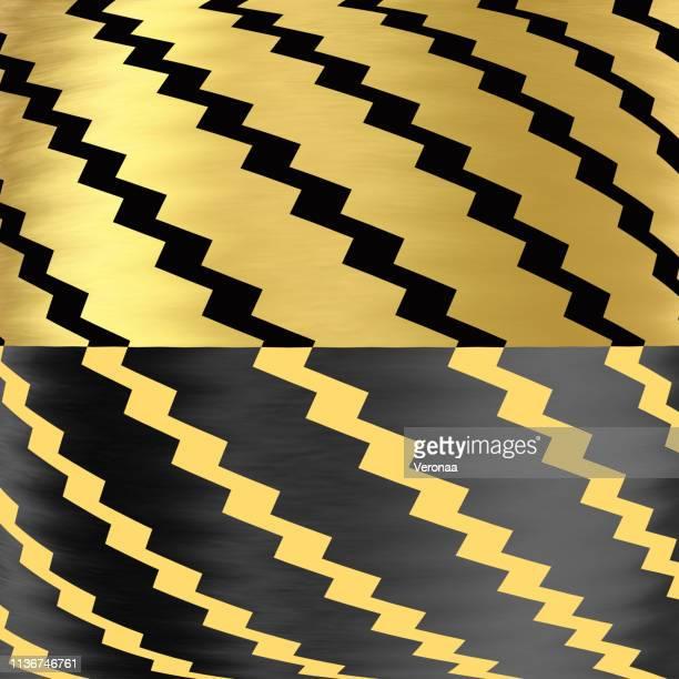 斜めジグザグと金色と黒の凸の背景