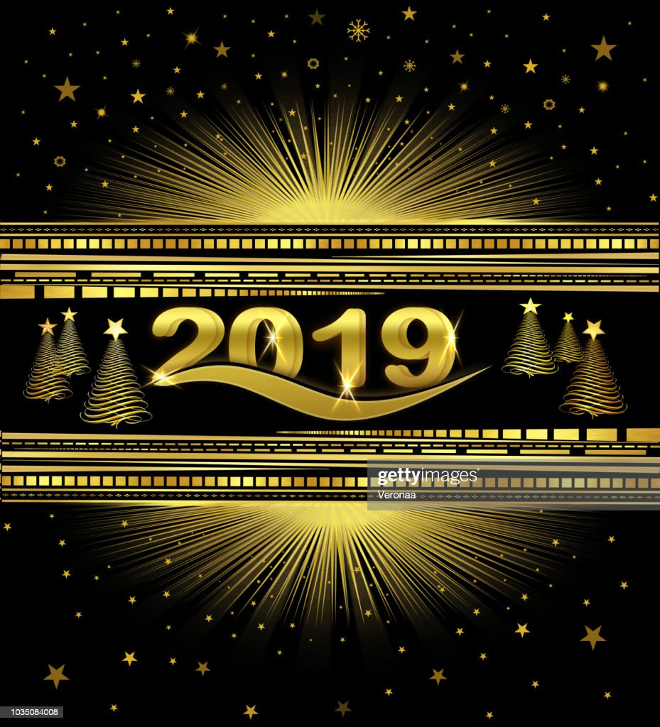 golden and black new year 2019 background stock illustration