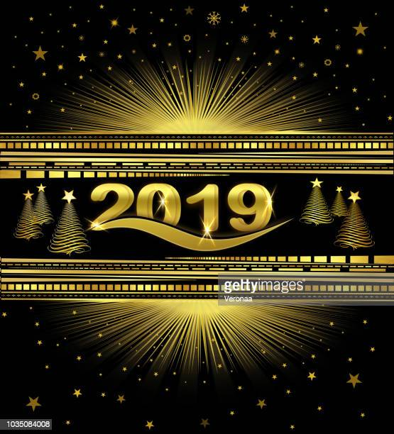 golden and  black new year 2019 background - glühend stock illustrations