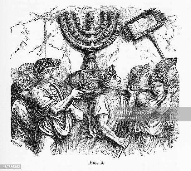 Golden Candlestick, menorah, of the Jewish Temple Christian Symbolism Engraving
