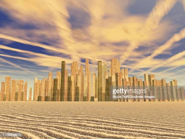 Golden city. Futuristic world