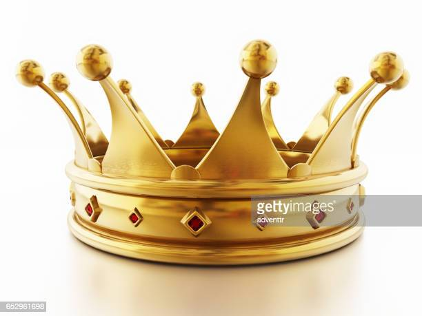 golden crown decorated with red gems - medieval queen crown stock illustrations
