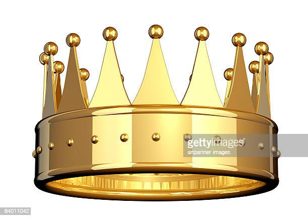 illustrazioni stock, clip art, cartoni animati e icone di tendenza di golden crown on white background - corona reale