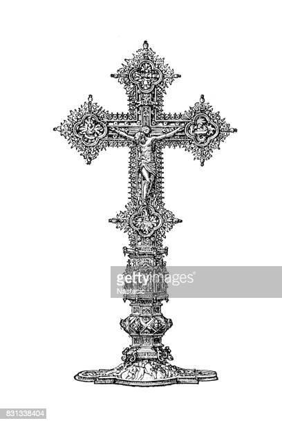 golden crucifixion - crucifix stock illustrations, clip art, cartoons, & icons