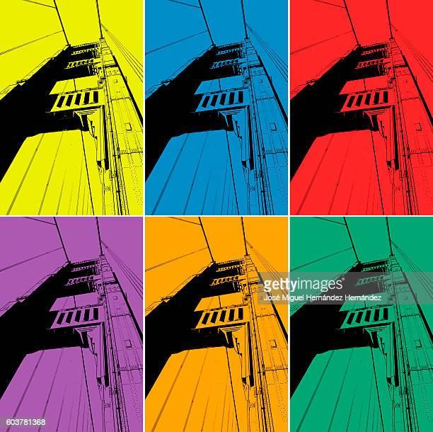 ilustraciones, imágenes clip art, dibujos animados e iconos de stock de golden gate bridge san francisco illustration - puente colgante