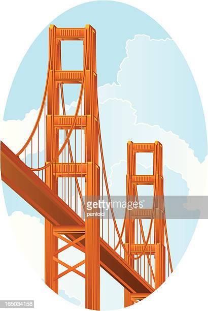 ilustraciones, imágenes clip art, dibujos animados e iconos de stock de golden gate - puente colgante