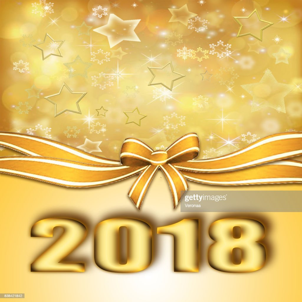 golden happy new year 2018 background stock illustration