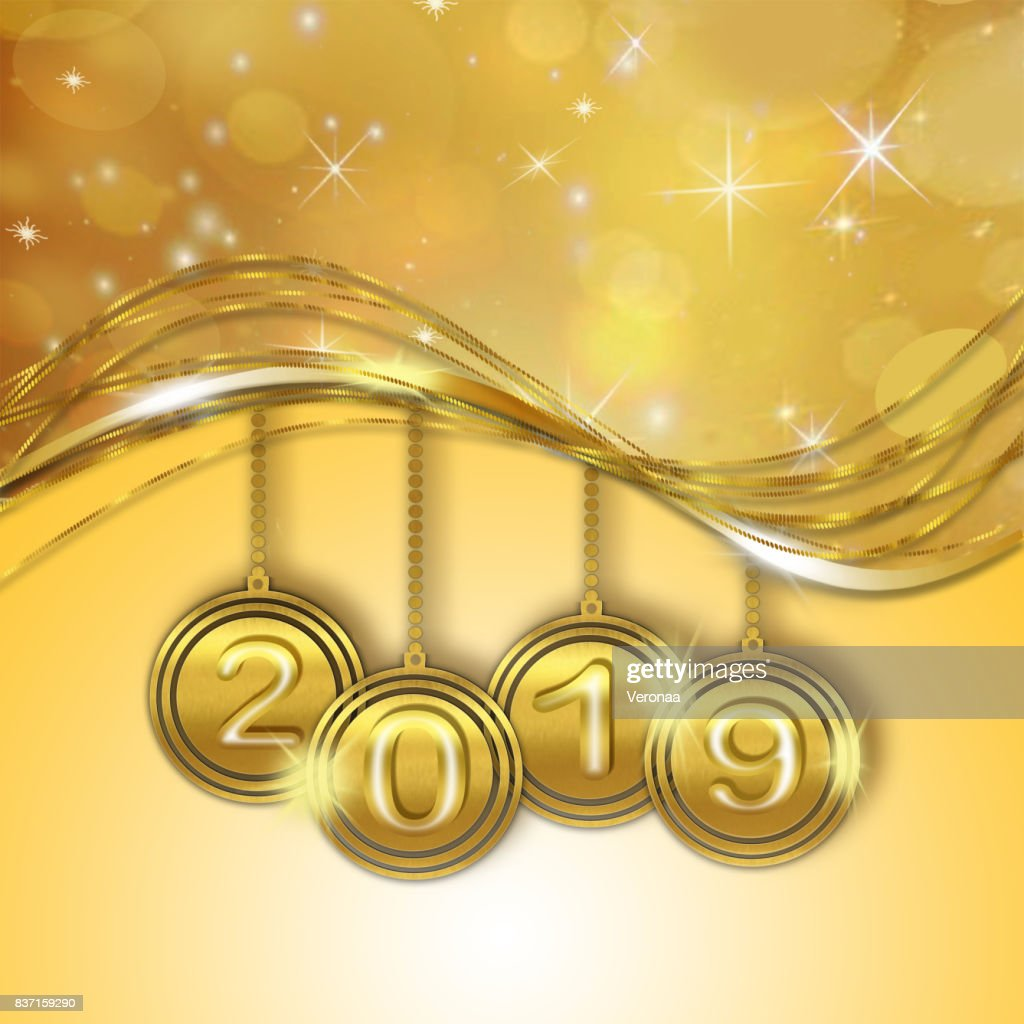 golden happy new year 2019 background stock illustration