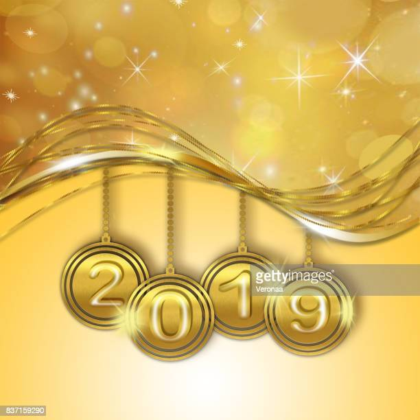 Golden happy new year 2019 background