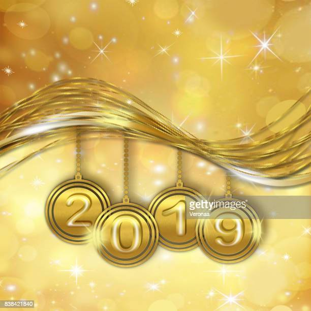 golden happy new year 2019 background - glühend stock illustrations