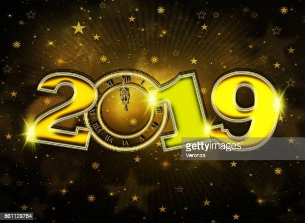 golden happy new year 2019 background - glühend stock illustrations