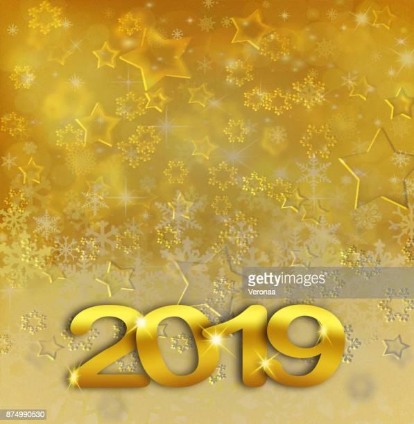 golden happy new year 2019 - glühend stock illustrations