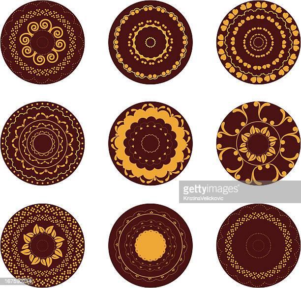 golden henna design - medallion stock illustrations, clip art, cartoons, & icons