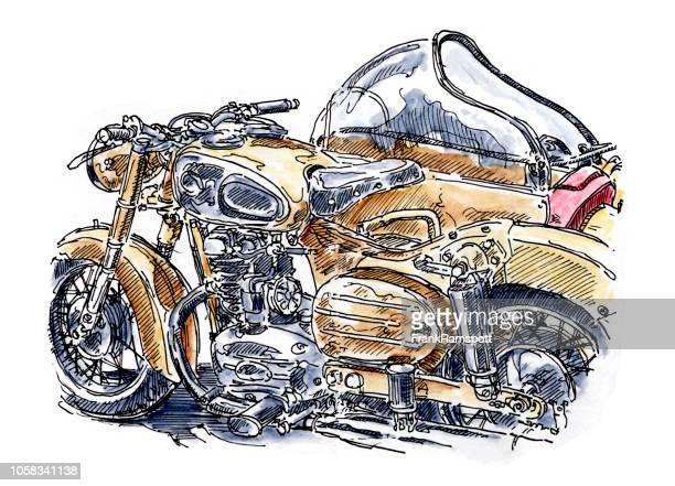 Goldene Motorrad Beiwagen Tinte, Zeichnung und Aquarell