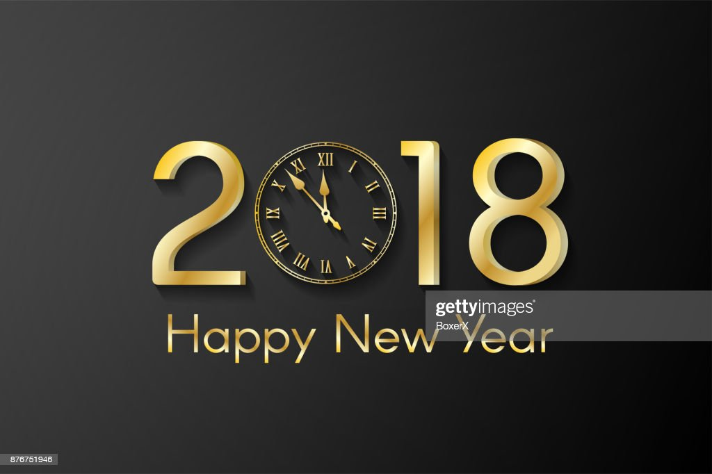 golden new year 2018 concept on black background greeting card with golden numbers and vintage
