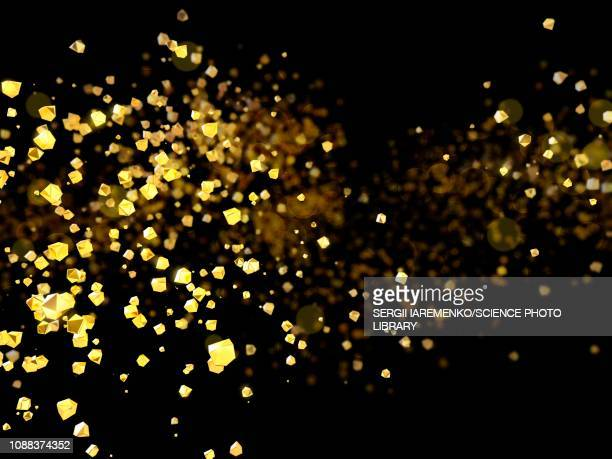 golden particles, illustration - particle stock illustrations