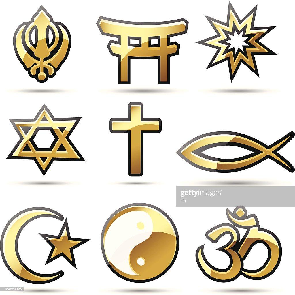 Golden Religious Symbols Vector Art Getty Images