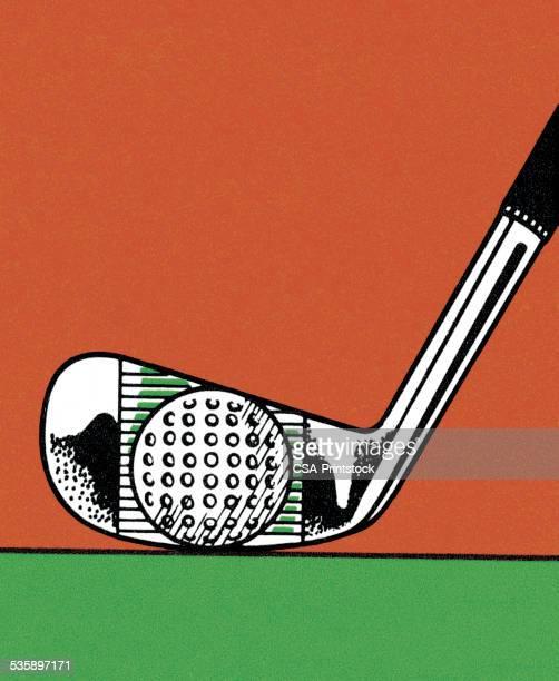 golf ball and golf club - sports equipment stock illustrations