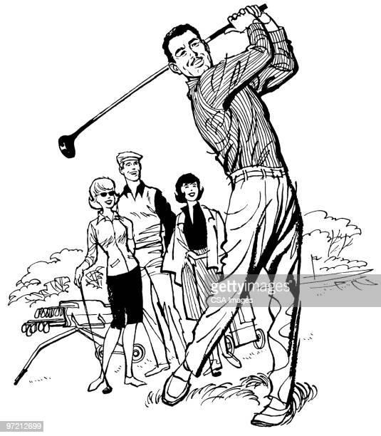 golf - golf lustig stock-grafiken, -clipart, -cartoons und -symbole